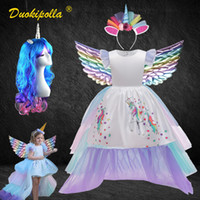 Fantasia menina colorida chão comprimento unicórnio vestido para crianças peruca halloween crianças princesa festa de aniversário tiered tutu vestidos de baile lj200923