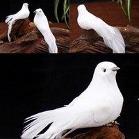 Simülasyon Kuşlar Festivali Bitki Dekorasyon Beyaz Güvercin Köpük Tüyler Klipler Barış Güvercin Fotoğraf Prop 1 55ky G2