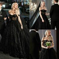 2021 Black Gothic Brautkleider Sexy von der Schulter Spitze Applikation Sparkly Pailletten Sweep Zug Hochzeit Brautkleid Vestido de Novia