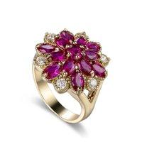 Wholesale Red Corundum Flower Wedding Rings Accessories Jewel Ring Fashion Jewelry Engagement Lover Valentine Y1128