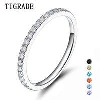 Tigrade 925 Sterling Silber Ringe Frauen Hochzeit Band Verlobung Zirkonia Dünne 2mm Ring Mode Weibliche S925 Schmuck Größe 3 Y1124