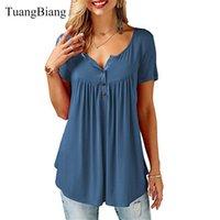 TUANGBIANG 2020 Frauen Sommer V-Ausschnitt Kurzarm T Shirts Lose Sexy Camiseta Feminina T-Shirts Weibliche Plus Größe Lange Stil Tops X1217