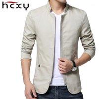 Chaquetas para hombre HCXY 2021 Primavera Otoño Casual Masculino y abrigos Abrigo Hombres Outwear Solid ColorZipper Slim Fit Cotton1