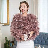 NUEVO 2018 Otoño Invierno Mujeres Cortos Avestruz Real Feather Four Four Coat O-Cuello Natural Avestruz Piel Chaqueta Pink White Grey S-XL W15181