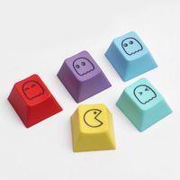 Tastiere 5pcs Colorful Pacman Design Sublimation PBT KeyCaps per Cherry MX Switch Mechanical Gaming Tastiera profilo ESC Keycap