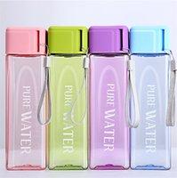 Yeni Taşınabilir Su Kupa 500 ml Spor Su Şişesi Moda Kare Şeffaf Tumbler Büyük Kapasiteli Plastik Bardak Su Şişeleri 9057