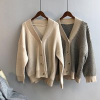 Dames Knits Tees 2021 Dames Herfst Lente V-hals Gebreide Gestreepte Trui Jas Vesten Lange Mouw Poncho Sweaters Trek Femme