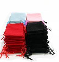 100 unids / lote 5x7cm Bolsa de bolsa con cordón de terciopelo / bolsa de joyería Navidad / Bodas Bolsas de regalo Negro Rojo Rosa azul 4 Color