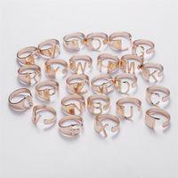26 Englische Briefbandöffnungspaar Valentinstag Geschenk Bands Legierung Verstellbare Ringe Schmuckzubehör 2 18YH O2