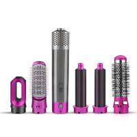 Secador de cabelo profissional 5 em 1 escova rotativa pente de ar quente pente de onda roll rolo de ferro escova escova secador de cabelo sopro com bicos