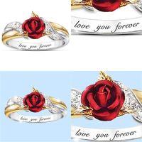 Aimez-vous pour toujours des anneaux de fleurs bijoux Rose rouge rubis rubis cristal incrustal bague élégante bague femme cadeaux cadeaux accessoires 6 tailles 2qz m2