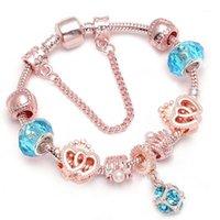 Bracelets de charme Drop bracelet vintage argent couleur avec amour coeur Crystal Pendentif Bracant pour femmes Cadeau1