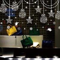 [Shijuehezi] Estrellas Copos de nieve Ángel Vidrio Etiquetas de vidrio DIY Calcomanías de pared para colgar para la ventana de la sala de estar Decoración de Navidad1