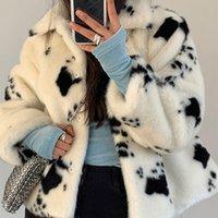 LucyEver 겨울 흑백 가짜 밍크 모피 코트 여성 짧은 턴 다운 칼라 두꺼운 따뜻한 오버 코트 한국어 달콤한 플러시 코트 새로운 201029
