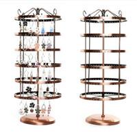 Hooks Rails 6 Lager 288 Hål Metall Smycken Display Hylla 360 Grad Rotatting Earring Storage Rack Äldre World Type Organizer