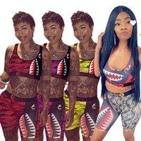 Moda Kadın Kızlar Mayo Yaz Sutyen Yelek + Şort İki Parçalı Set Patchwork Köpekbalığı Camo Mayo Swim Trunk Pantolon Eşofman Bikini Hediyeler