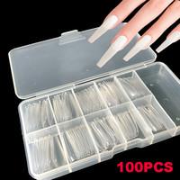 100 adet / kutu Yanlış Tabut Nails Balerin Uzun Temizle / Doğal / Beyaz Sahte Çiviler Sanat İpuçları Düz Şekil Tam Kapak Manikür Yanlış Çiviler