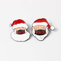 Mignon Santa Santa Claus portant une broche de masque Broche de Noël broches Pince drôle Santa Claus Broche de dessin animé Christmas Cadeau de Noël