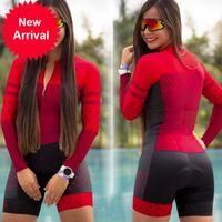 Kafitt -2020 Ciclismo Triathlon Collants Sexy Collant à manches longues Jersey Maillot de bain Jersey Femme Monkey Costume 9D Gel
