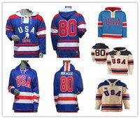 USA Hockey Miracle auf Eis 1980 Jersey Hoodies Royal Pullover Nähte Männer Benutzerdefinierte Name Jede Nummer Gut