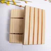 Handgemachte hölzerne Seifenhalter Kiefer Seifenschale Badezimmer Seifenschalen mit Nut Multifunktional Küchentool YYF3641