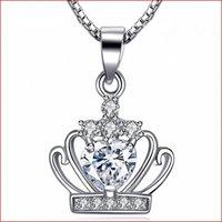 Sterling Silber Halskette Royal Crown Anhänger 2 Farben Zirkon 18 Zeche 925 Box Kette Clavicle Anhänger 18 Karat Weißgold Überzogene Schmuck Hochzeit Geschenk