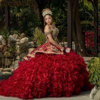 부르고뉴 Quinceanera 드레스 숄더 푸른 16 드레스 Vestido de 15 Anos 2021 Princess Prom 가운