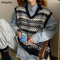Gilet Donne Patchwork Springless senza maniche nuovo allentato Harajuku Retro Ulzzang BF Casual Basic Knit Jast Jammer Gilet femminile alla moda elegante1