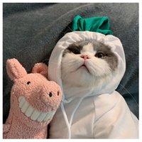 Animali domestici Cappotto con cappuccio Cappotto di frutta Bianco Rana Rana Forma Peluche Lace Up Abbigliamento Cute Dog Cat Maglione Puppy Inverno Confortevole 9 9GG G2