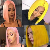Чистый розовый желтый полный кружева человеческие волосы парики короткие боб парики прямые бразильские девственные человеческие волосы 130dense кружевной фронт парик с волосами