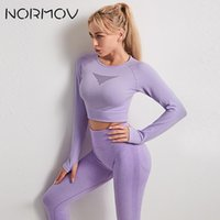 NORMOV Gym 2 Piece Set Yoga Set Women Sport Suit Seamless Hollow Out Fitness Long Sleeve Crop Top High Waisted Workout Leggings