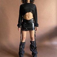 Röcke 2021 Frauen PU-Leder Kylie Rock Sexy Geraffte Hohe Taille Schwarz Kurzer Mini-Boden-Quaste Stretch Bleistift-Party-Tragen