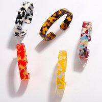 Новая мода круглая смола большой браслет браслетов для женщин тонкий открытый манжеты леопардовый принт акриловый свадебный браслет ювелирные аксессуары1