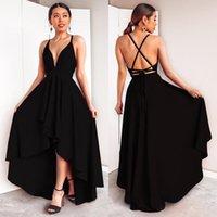 Seksi Siyah Balo Elbise Derin V Yaka Kolsuz Diz Boyu Sling Yüksek / Düşük Balo Elbise Vestidos De Fiesta Largos Elegantes de Gala