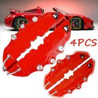 4PCS 자동차 디스크 브레이크 3D RED ABS 플라스틱 캘리퍼스 커버 전면 리어 자동차 브레이크 키트 16 '- 22' '휠 브레이크 실린더
