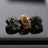 Nouveaux hommes et femmes Bracelet bricolage bijoux 12,5 * 8,5 mm argent / or / noir de crâne de crâne en acier inoxydable