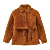 Chaquetas de mujer Señoras Faux Cordero Terciopelo Velvet Abrigo de oso de peluche y invierno con cinturón para mantener la manga larga cálida y gruesa.