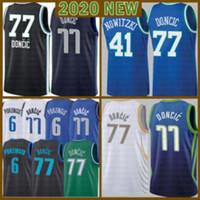 2021 جديد Luka كرة السلة جيرسي 77 دونكيك رجالي كريستس 6 porzingis شبكة الرجعية ديرك 41 nowitzki الشباب الاطفال البيج