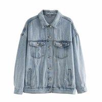 Vestes en jean Femmes Casual Jeans Veste Jacket à manches longues Denim Coton Manteau Plus Taille