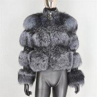 BluenessFair Jaqueta de Inverno Mulheres Casaco de Pele Real Parka Natural Guaxinim Pele de Pele Weave Tecido Tecido Grosso Ouro Outerwear Streetwear 201212