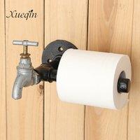 Xueqin New Industrial Industrial Estilo rústico Pipa de hierro negro Tenedor de papel higiénico Tenedor de rollo de pared Montado en la pared Hardware de baño Suministros T200425