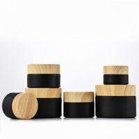 50 pcs / lote 5g / 10g / 15g / 20g / 30g / 50g de alta qualidade jarro de madeira capa de madeira fosco frasco de blackglass fogos para embalagem cosmética 0,5 oz 1oz