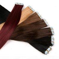 도매 유럽 러시아어 하나의 기증자 진짜 인간의 머리카락 확장 이중 그려진 레미 버진 테이프 헤어 확장 스트레이트 피부 위사