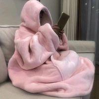 Calda calda maglione con cappuccio con cappuccio unisex tasca gigante adulto e bambini coperte in pile per letti viaggio casa pigiama maglione HH9-3683