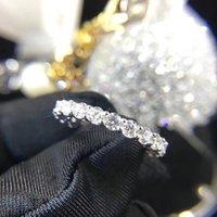 Пара Вечности 4 мм Лабораторное бриллиантовое кольцо 925 Стерлинговое серебро Bijou Обручальные кольца для женщин Мужчины Прекрасные вечеринки Ювелирные изделия