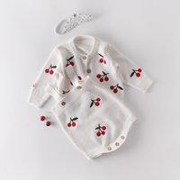Kleinkinder Mädchen-Spielanzug für Neugeborene Frühlings-Baby Knit Kirsche Langarm Pullover Outwear + Cardigan Strickwaren-Kind-Jungen-Kleidung Overall Y1113