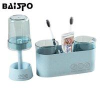 Conjunto de acessórios de banho Baispo Creative Toothbrush Titular de dentes de plástico e cremalheira de armazenamento Multi-função acessórios de banheiro conjuntos