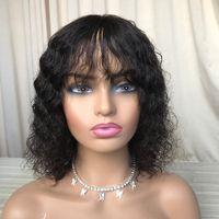 Human Cheveux Aucun Dentelle Perruque Black Friday Vente Perruques de haute qualité Sans fermeture Vague profonde avec une frange