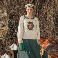 Оригинальный дизайн AIGYPTOS Женщины осень осень зима винтаж MORI Girls Sweet грибная вышивка милый белый вязаный пуловер свитера LJ201114