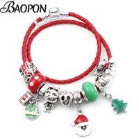 Bracciali di fascino Catena di pelle rossa di Natale con braccialetti con perle di vetro verde di Murano Bangles per le donne Bambini 2021 Regalo